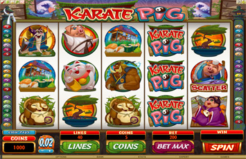 Roxy Palace Casino :: NEW Slot Game - Karate Pig :: PLAY NOW!