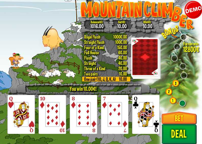 PAF Casino :: Mountain Climber video poker - PLAY NOW!