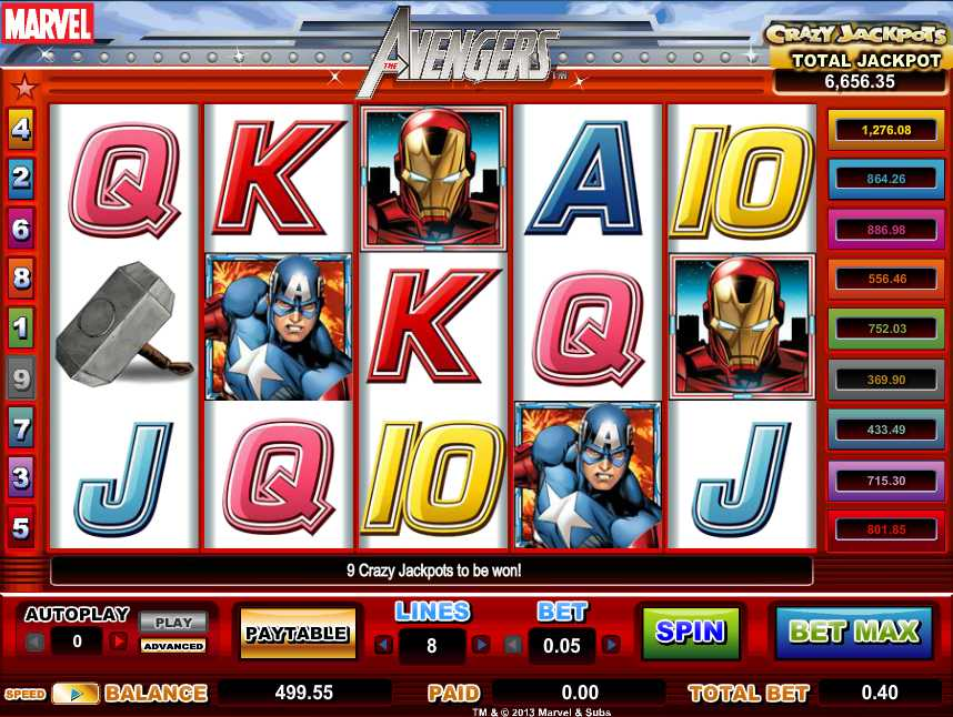 The Avengers slot (Amaya Gaming software)