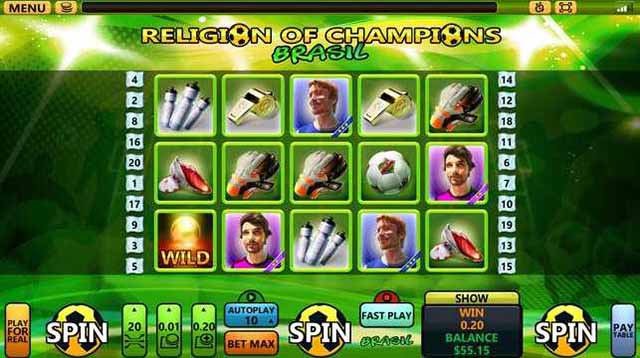 Black Diamond Casino :: Religion of Champions – Brasil :: New Soccer Slot - PLAY NOW! (US Players Welcome!)